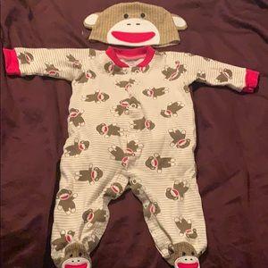 Sock monkey onesie with hat